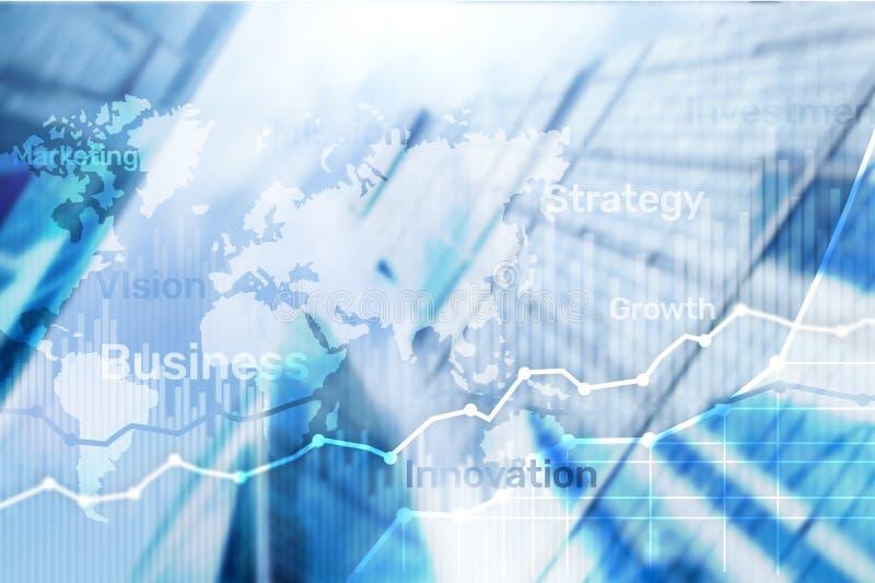 Gráfico abstrato, carta e diagrama da exposição dobro do fundo do negócio Mapa mundial e Negócio e financeiro globais fotografia de stock royalty free