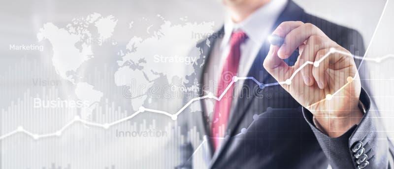 Gráfico abstrato, carta e diagrama da exposição dobro do fundo do negócio Mapa mundial e Negócio e financeiro globais imagem de stock royalty free