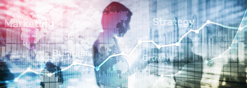 Gráfico abstrato, carta e diagrama da exposição dobro do fundo do negócio Mapa mundial e Negócio global e c de troca financeiro imagem de stock royalty free