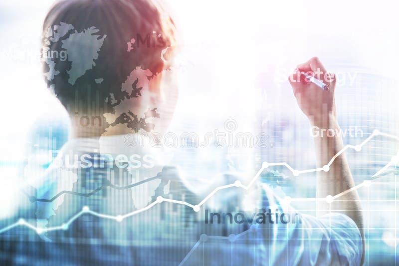 Gráfico abstrato, carta e diagrama da exposição dobro do fundo do negócio Mapa mundial e Negócio global e troca financeira fotos de stock