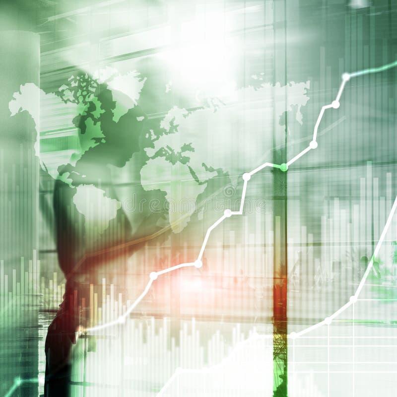 Gráfico abstrato, carta e diagrama da exposição dobro do fundo do negócio Mapa mundial e Negócio global e troca financeira imagem de stock