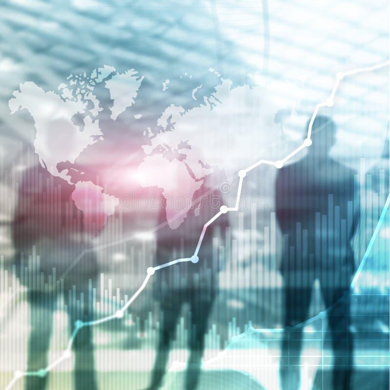 Gráfico abstrato, carta e diagrama da exposição dobro do fundo do negócio Mapa mundial e Negócio global e troca financeira fotografia de stock