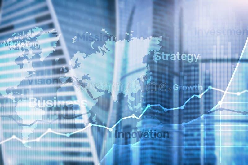 Gráfico abstrato, carta e diagrama da exposição dobro do fundo do negócio Mapa mundial e Negócio global e troca financeira fotos de stock royalty free