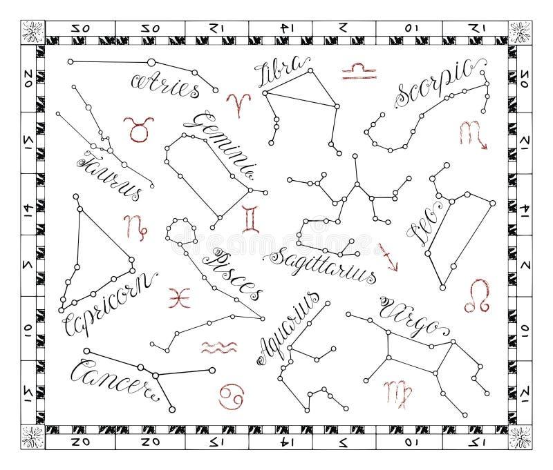 Gráfico ajustado com constelações do zodíaco no quadro ilustração royalty free