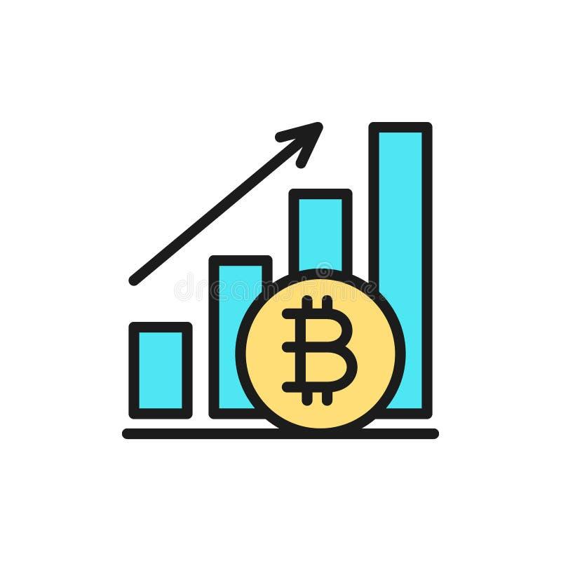 Gráfico ascendente, moeda do bitcoin, ícone liso da cor do cryptocurrency ilustração royalty free