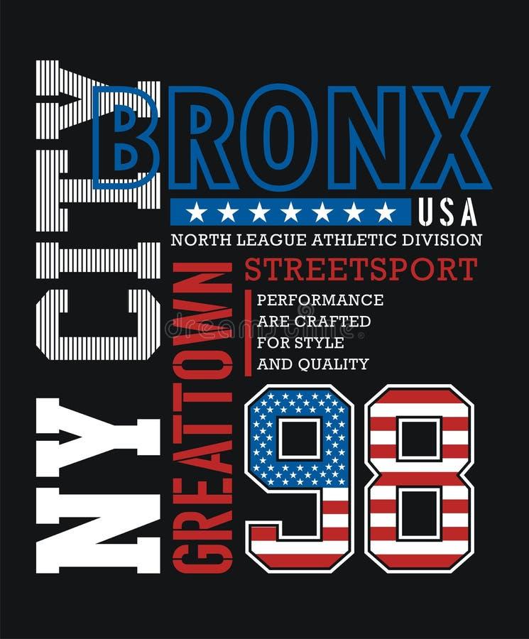 Gráfico atlético de la camiseta de Bronx ilustración del vector