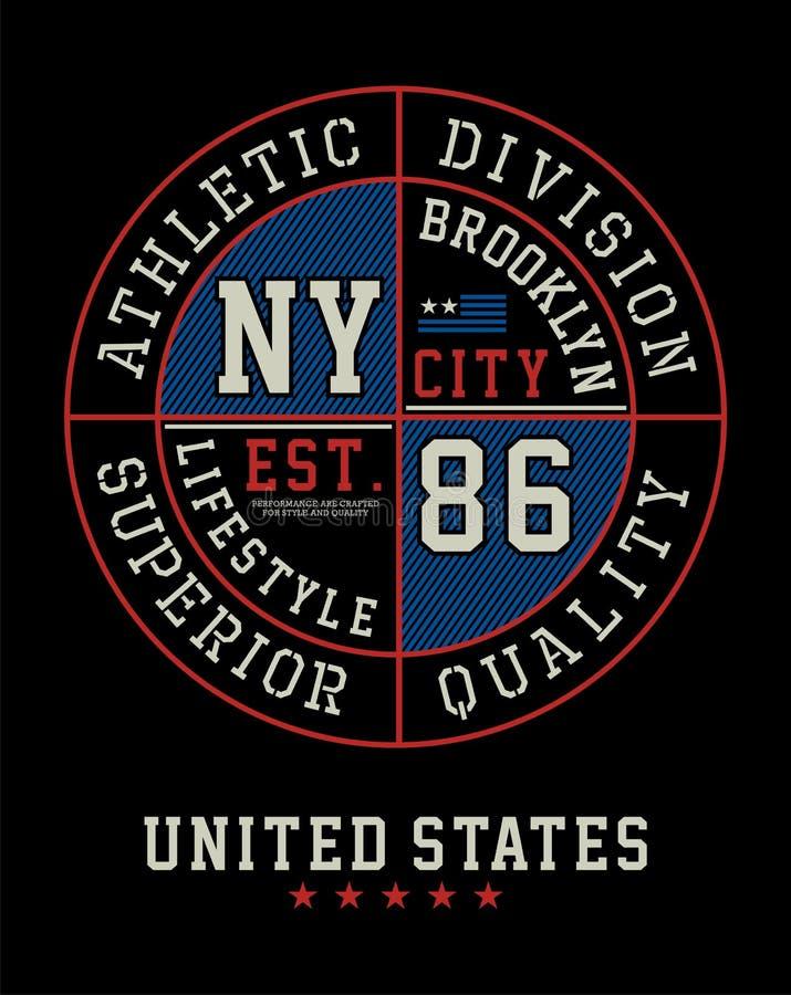 Gráfico atlético do t-shirt de Brooklyn, imagem do vetor ilustração royalty free