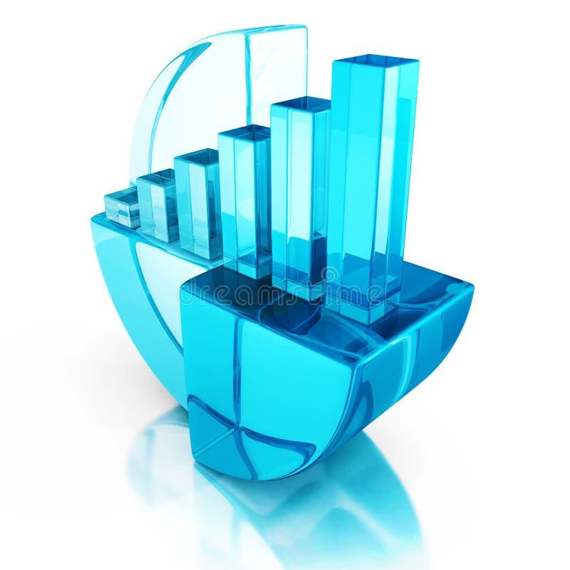 Gráfico azul da barra e da torta na reflexão Conceito do sucesso de negócio ilustração royalty free
