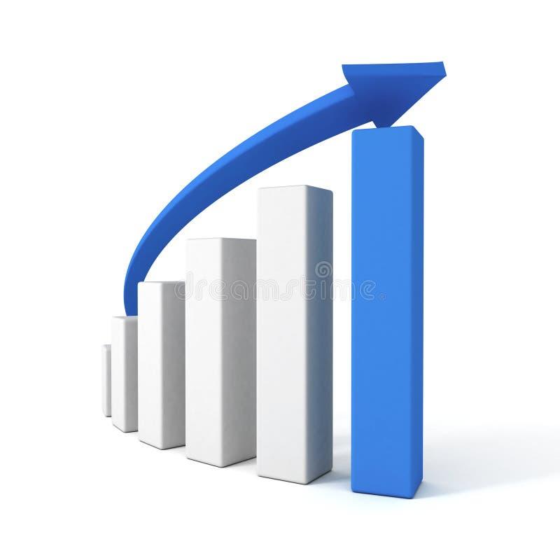 gráfico azul da carta de barra da seta 3d e do sucesso ilustração stock