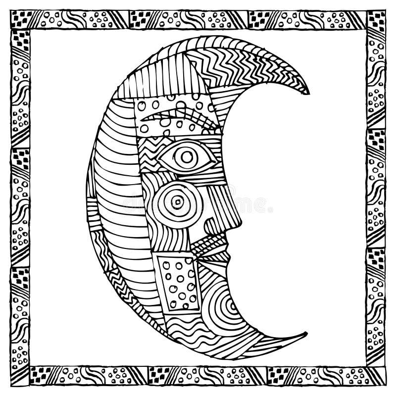 Gráfico blanco y negro original de la luna ilustración del vector