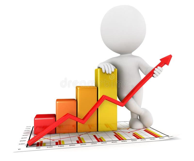 gráfico branco da estatística de negócio dos povos 3d ilustração royalty free