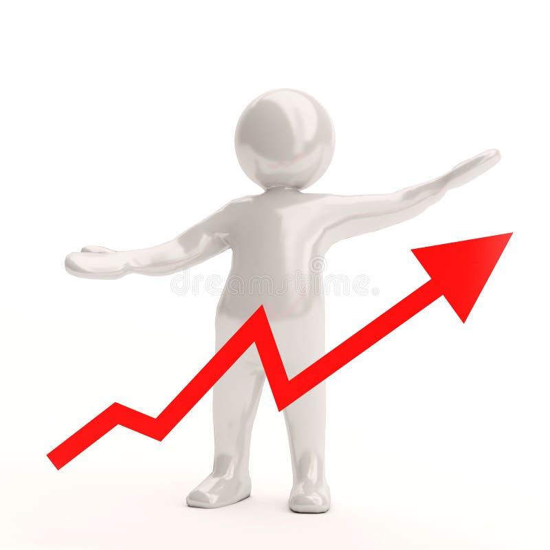 gráfico branco da estatística de negócio dos povos 3d ilustração do vetor