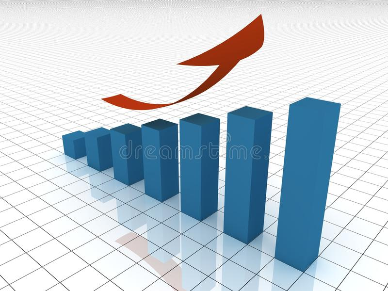 Gráfico cada vez mayor ilustración del vector