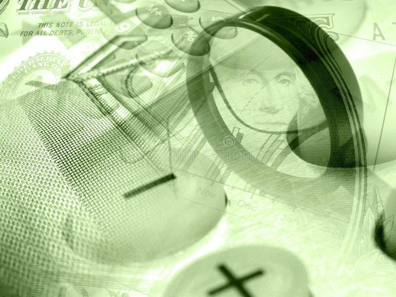 Gráfico, calculadora, lupa y dinero, collage fotos de archivo libres de regalías