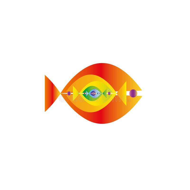 Gráfico colorido abstracto de los pescados junto Esta plantilla del logotipo puede ser representante del destino del viaje de un  libre illustration