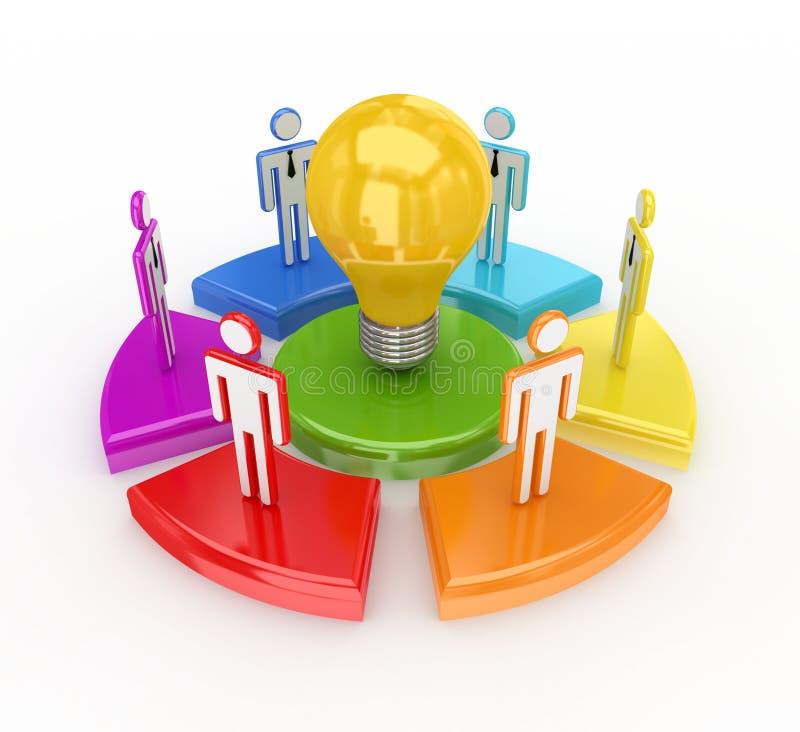 Gráfico colorido, bulbo y pequeña gente 3d. ilustración del vector