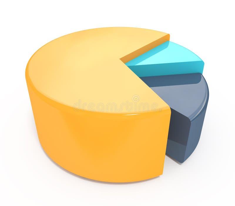 Gráfico colorido da carta de torta 3d A alta resolução rende ilustração stock
