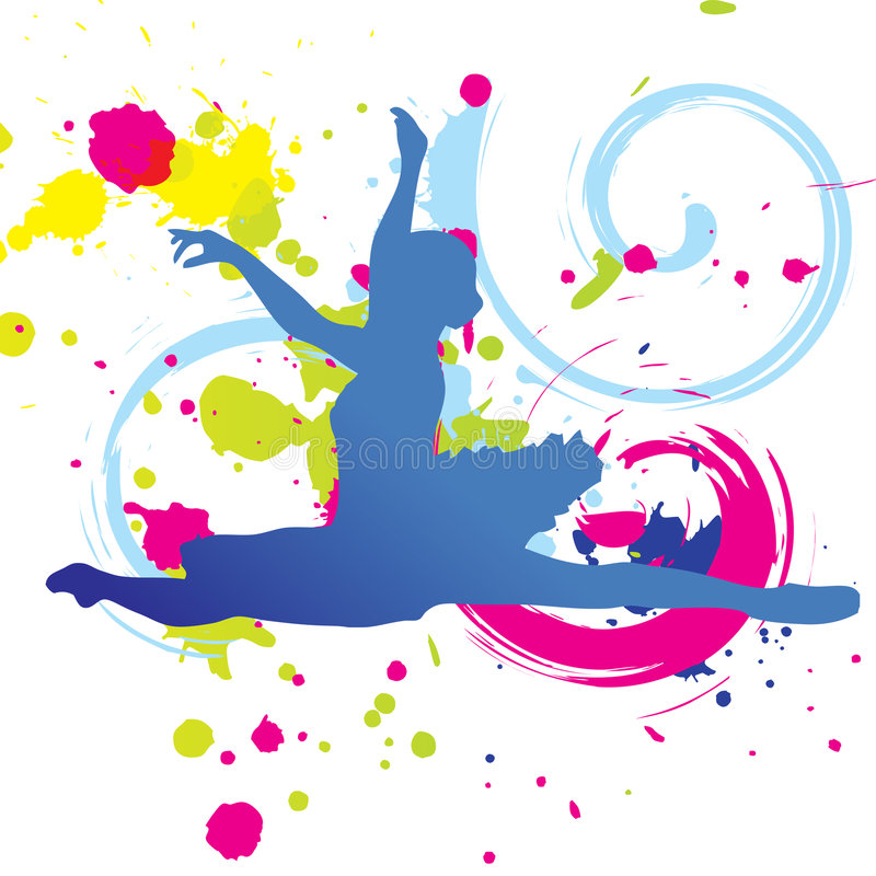 Gráfico colorido de la danza stock de ilustración