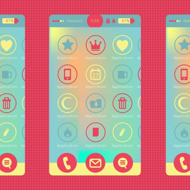 Gráfico colorido del smartphone y de la tableta ilustración del vector