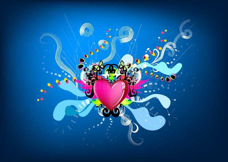Gráfico colorido do coração do rei ilustração royalty free