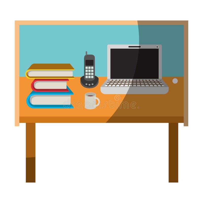 Gráfico colorido do escritório domiciliário da mesa básico sem sombra do contorno e da metade ilustração do vetor