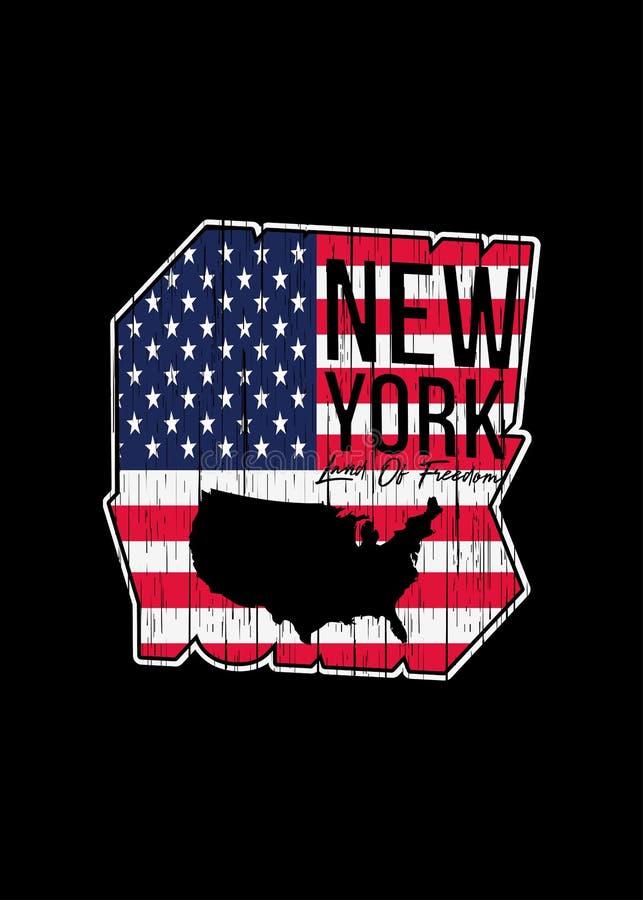 Gráfico colorido geométrico apenado mapa americano de Nueva York ilustración del vector