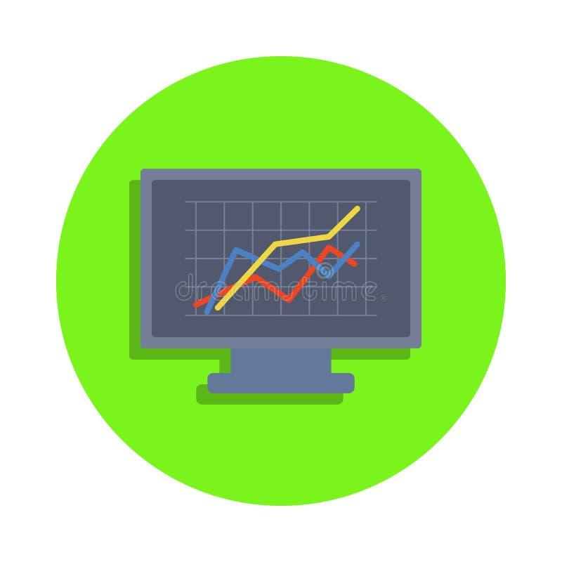 gráfico colorido na tela de monitor no ícone verde do crachá Elemento da ciência e do laboratório para apps móveis do conceito e  ilustração stock