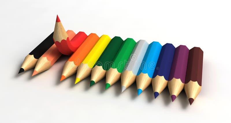 Gráfico com lápis ilustração do vetor