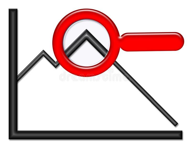 Gráfico com lupa ilustração stock