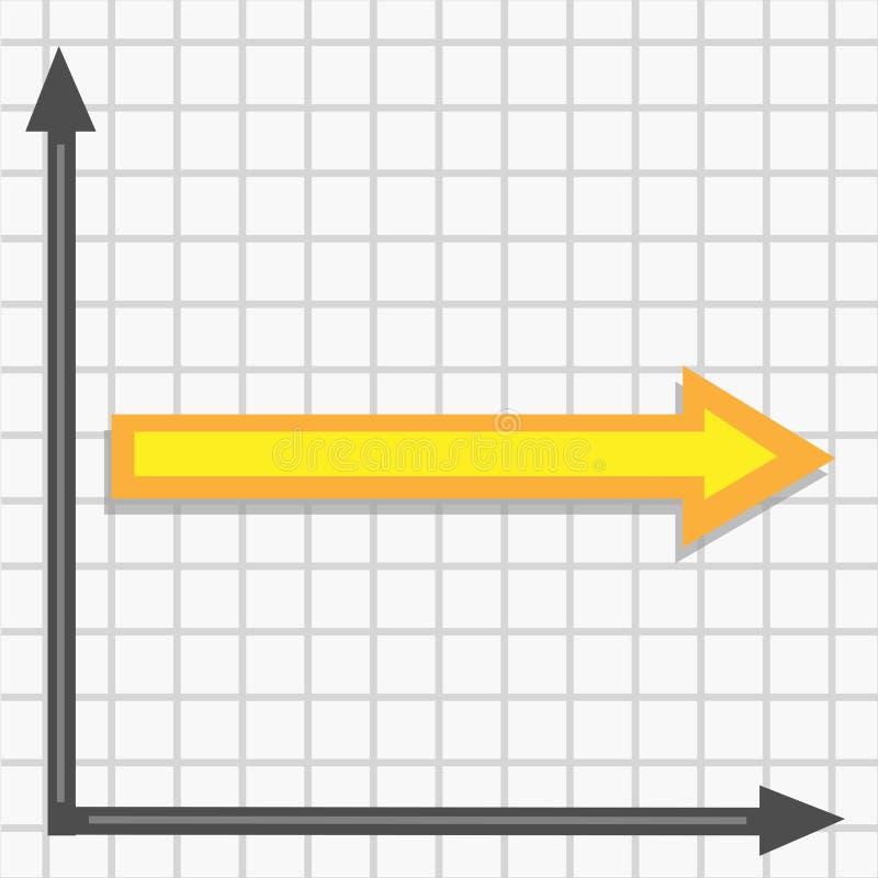 Gráfico com um vetor amarelo reto da seta ilustração royalty free
