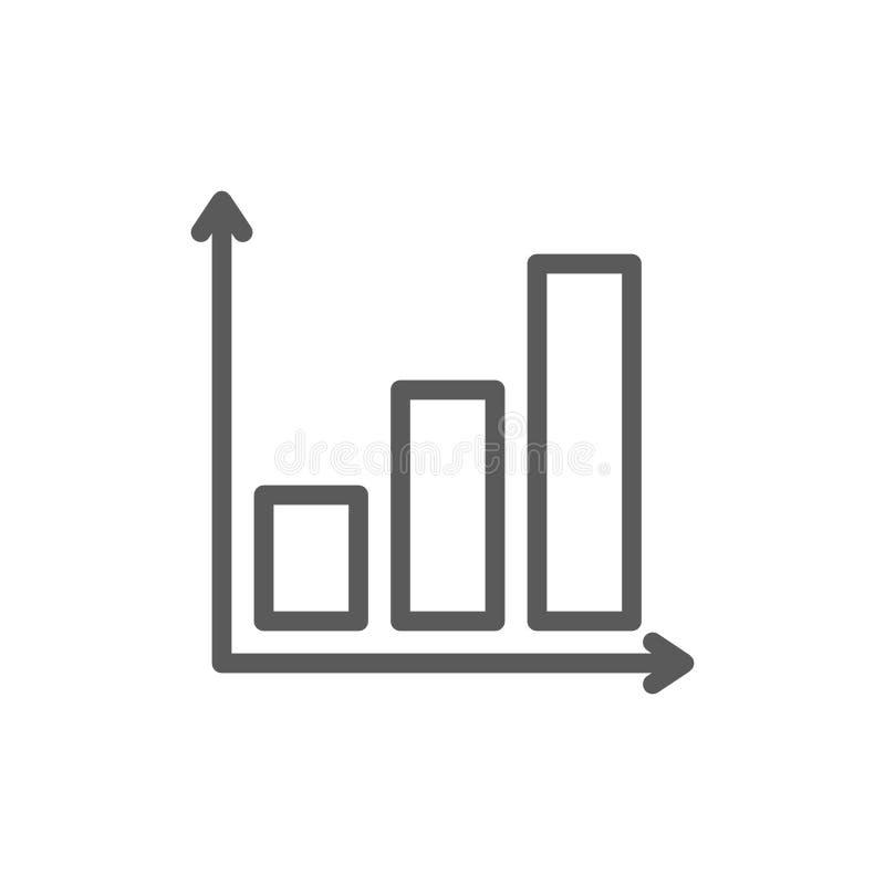 Gráfico con la línea de carta cada vez mayor icono ilustración del vector