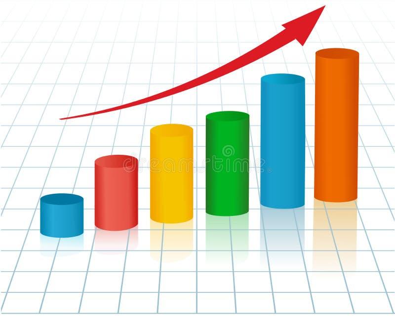 Gráfico crescente com seta ilustração stock