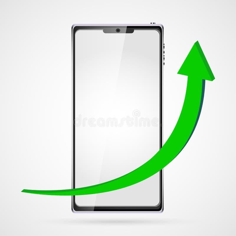Gráfico crescente com seta verde para cima no smartphone esperto preto do fundo do telefone com tela táctil, realístico moderno V ilustração do vetor