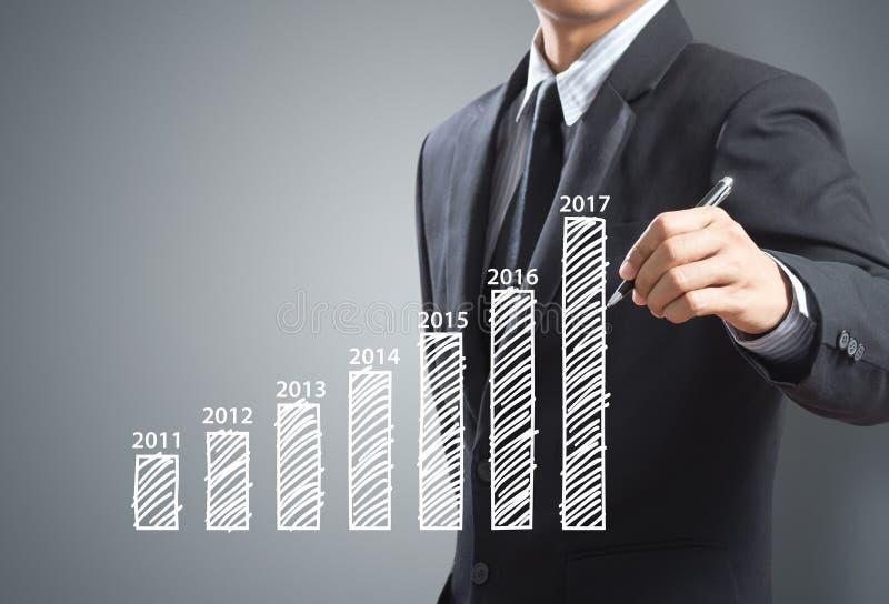 Gráfico crescente da escrita do homem de negócios, ano 2017 imagens de stock