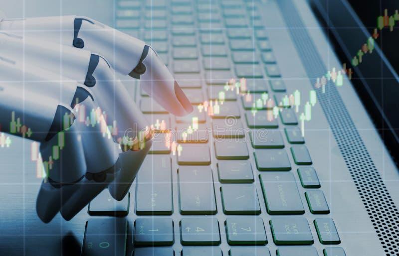 Gráfico da análise do mercado do conceito do negócio do robô, computador da pressão de mão do robô imagens de stock royalty free