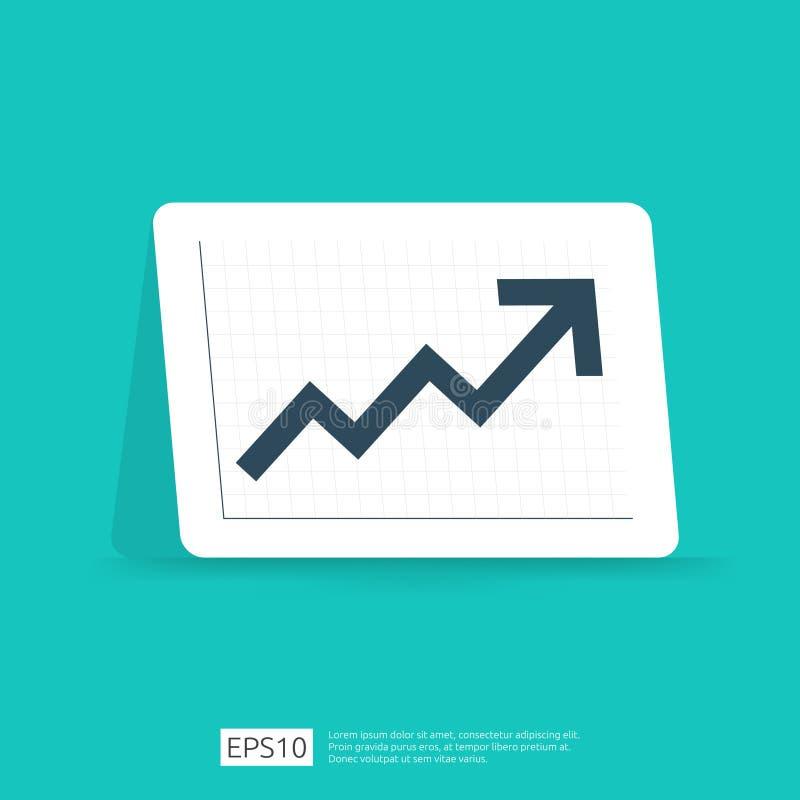 gráfico da estatística da seta do aumento para o lucro de negócio ou o crescimento da renda do salário Carta de desempenho da fin ilustração stock