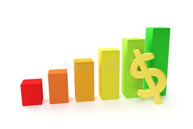 gráfico da finança 3D - elevação do dólar ilustração stock