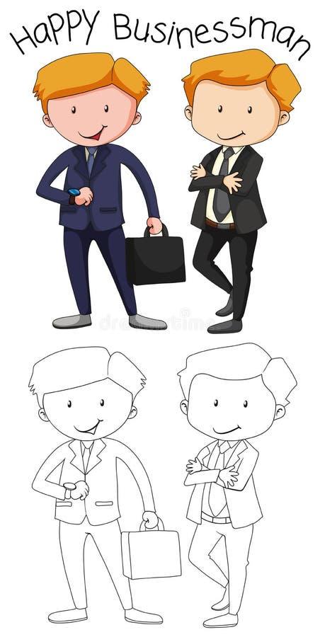 Gráfico da garatuja do homem de negócio ilustração royalty free