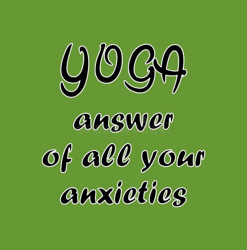 Gráfico da ilustração da ioga - resposta de todas as ansiedades ilustração royalty free