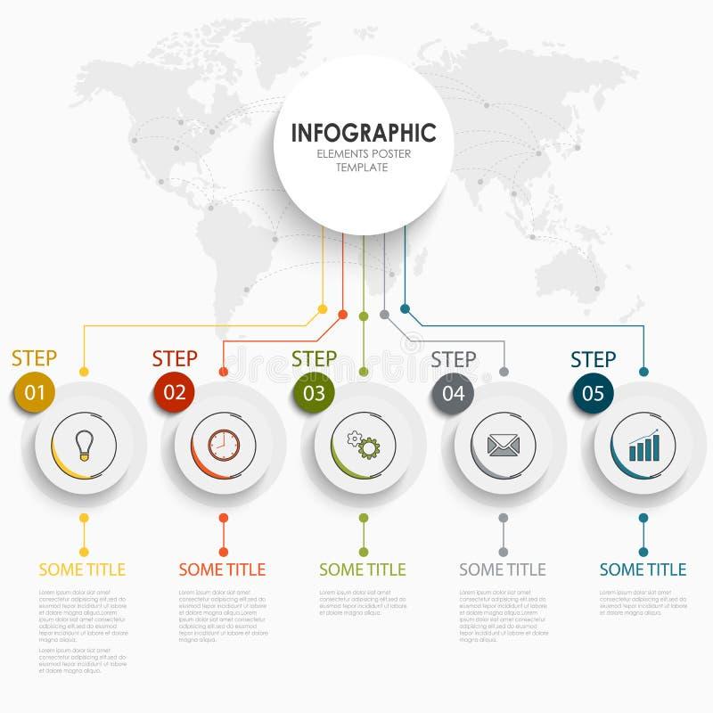 Gráfico da informação com etiquetas e o mapa arredondados do mundo ilustração stock