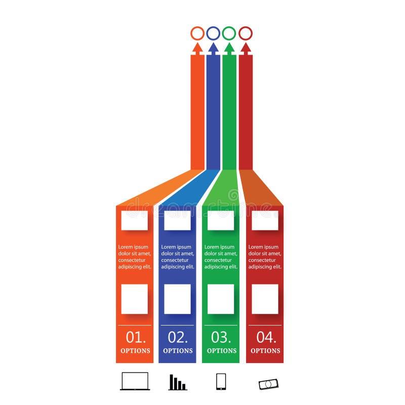 Gráfico da informação com ilustração de quatro opções ilustração royalty free