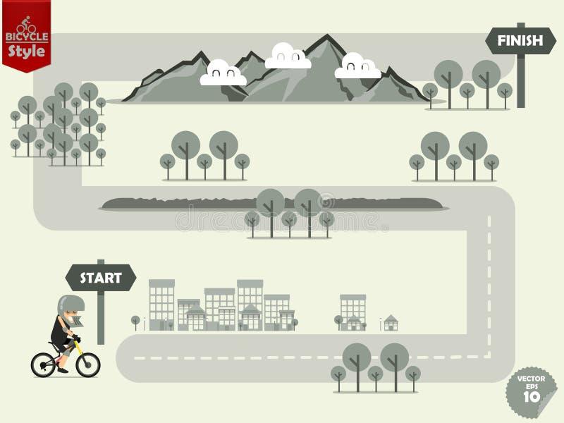 Gráfico da informação da equitação do Mountain bike no mapa exterior para terminar o ponto ilustração do vetor