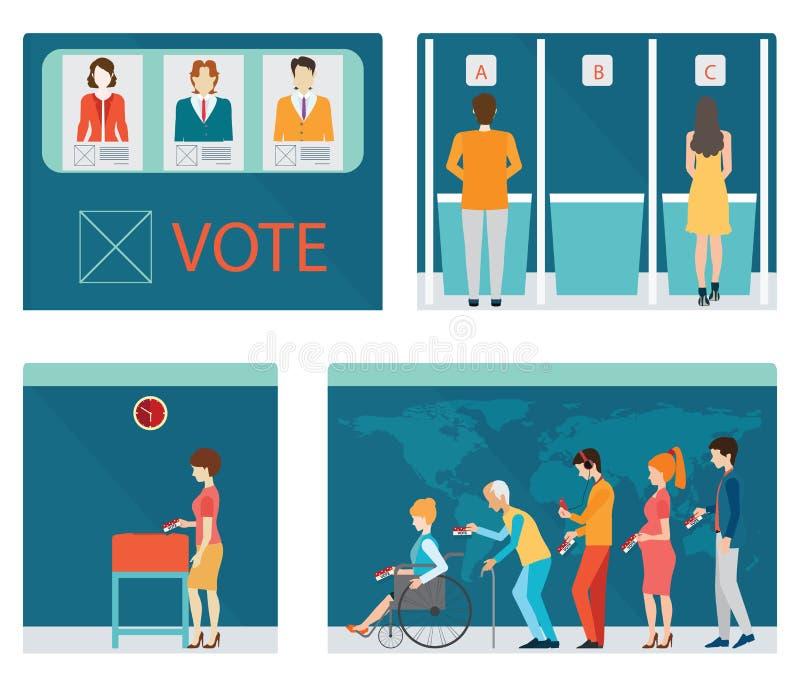 Gráfico da informação das cabinas de voto com os povos que esperam na linha ilustração royalty free