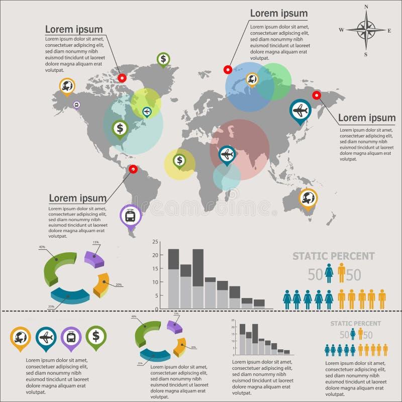 Gráfico da informação do mapa do mundo imagens de stock