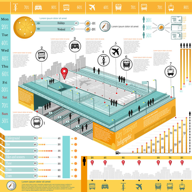 Gráfico da informação do transporte da cidade ilustração royalty free
