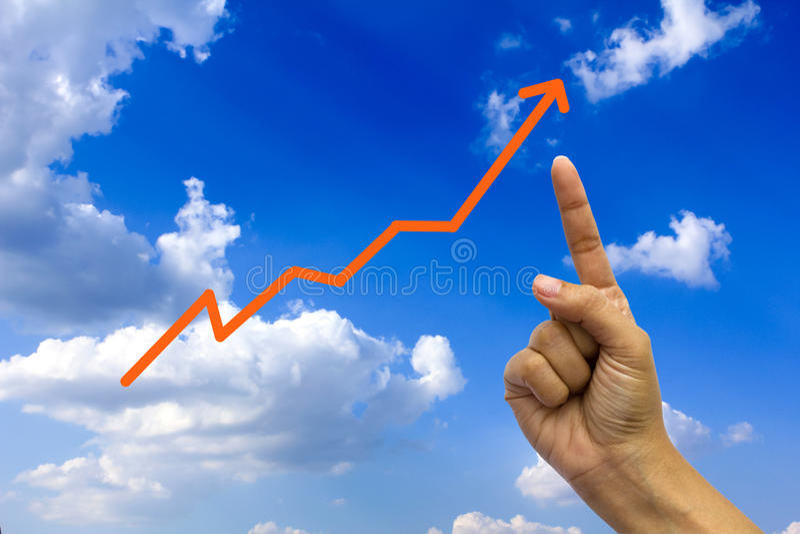 Gráfico da mão e de negócio. imagens de stock