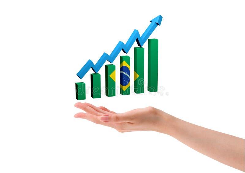 Gráfico da mão nas barras com a seta que indica o crescimento econômico de Brasil Fundo branco ilustração do vetor