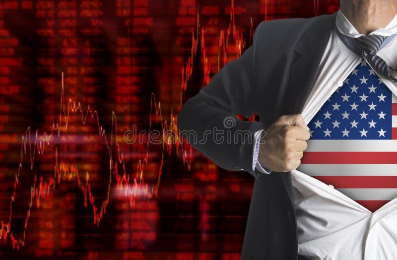 Gráfico da queda das partes com o homem de negócios que mostra um super-herói ilustração stock