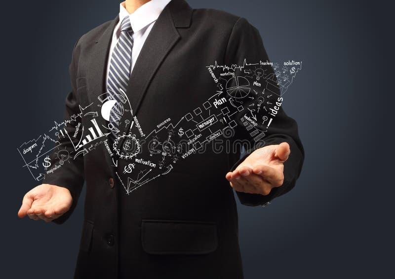 Gráfico da seta do conceito do sucesso comercial que vai acima nas mãos ilustração do vetor