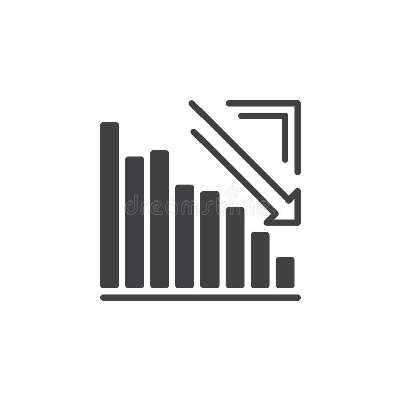 Gráfico da seta que vai abaixo do vetor do ícone, sinal liso enchido, pictograma contínuo isolado no branco ilustração royalty free